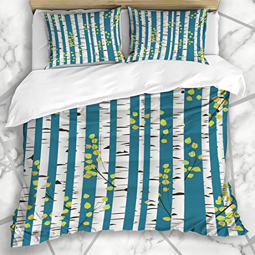 Ahawoso Duvet Cover Sets King 90x104 Elegance Blue Trunk Birchwood Pattern Abstract Tile Tree Forest Nature Romantic Stem Artistic Microfiber Bedding with 2 Pillow Shams