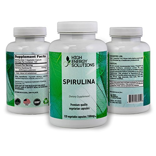 HIGH ENERGY SOLUTIONS Spirulina Non - GMO - 500 MG - 120 Veggie Capsules 100% Vegetarian & Non-Irradiated - Zero Pesticides - Additives - Maximum Strength 2000mg - 30 Day Supply - GMP - USA