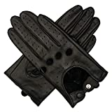 Harssidanzar Womens Touchscreen Luxury Italian Lambskin Leather Driving Gloves Unlined Vintage Finished, Black, S