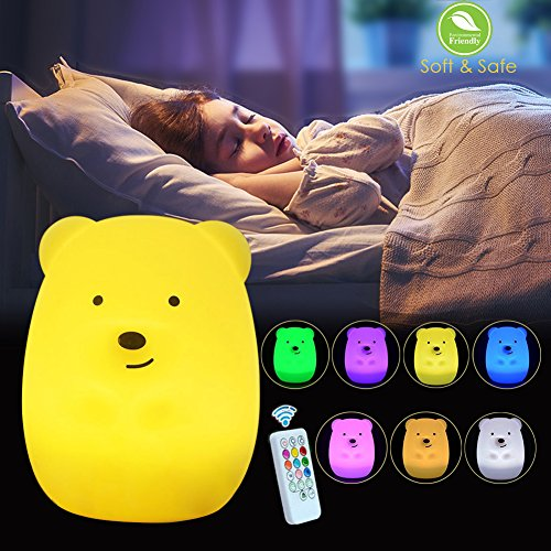 Baby Night Light, Kids Cute Portable Nursery LED Lamp, Silicone Soft Touch Tap Control USB Rechargeable, 3 Light Modes 8 Breathing Colors Timing Function by cToy (Bear-Tap Control + Remote Control)
