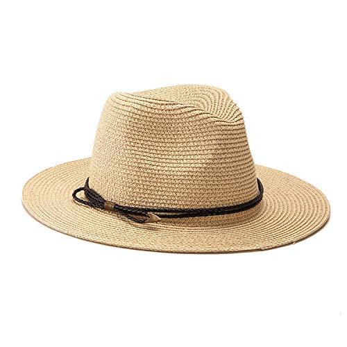 Women's Hat Wide Brim Beach Sun Hat Panama Straw Fedora Hat Cap Sun Visor Cap Male,25905 Beige -