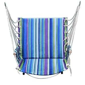 befitery sillas colgantes ls-cul21–de jardín asiento de lienzo acolchada Decorum a todos los grandeza interior o exterior, ( version mise à niveau ) rayures bleues