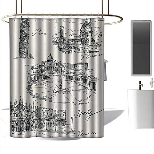 homehot Shower Curtains for Girls with Pink Sketchy,Travel The World Themed Historical Italian Landmarks Venice Rome Florence Pisa,Black White,W48 x L84,Shower Curtain for -