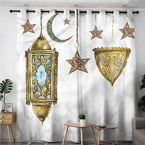 (XXANS Extra Wide Patio Door Curtain,Lantern,Watercolor Moon Stars,Darkening Thermal Insulated Blackout,W84x108L)