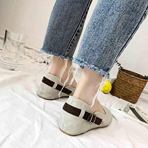 Cinturón Zapatos Con Gamuza Mujer Lazy Hebilla De Plana Gris Redonda Baja Punta Boca Casuales Shoes FCaqCSxw