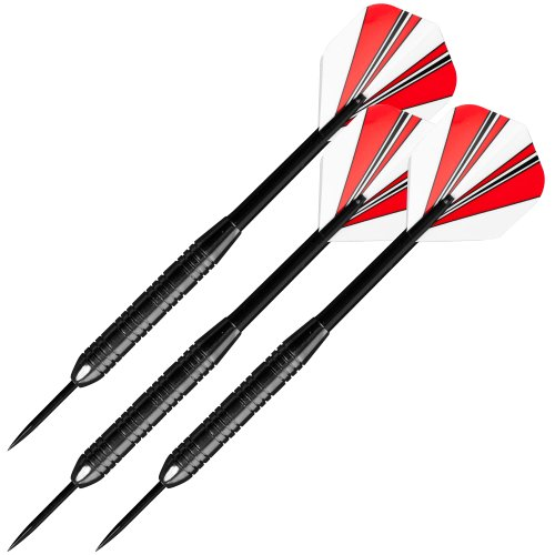 TG Trademark Games 23 Gram Steel Tipped Darts - Tournament Competition Accessory Set with Nylon Shafts, Flights and Carry Case