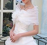 CIMC LLC Three Layers Voile Crimping Ruffled Bridal Wrap Shoulder Chiffon Wedding Shawl Stole Bowknot (white)