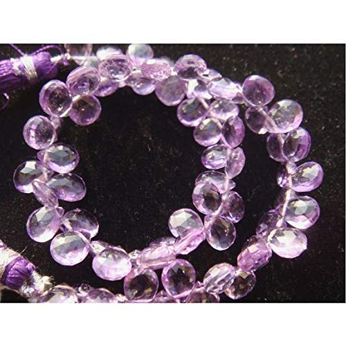(KALISA GEMS Beads Gemstone 1 Strand Natural Brazilian Amethyst Micro Faceted Pear Shaped Briolette - 8x6mm 8