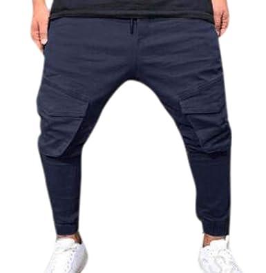 Huateng Mens Gym Jogger Pantalones Fitness Chándal Pantalones de ...
