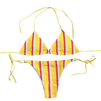 f273fa3e5f Amazon.com: Fashion Women 2 Piece Striped Swimsuit Bandage Bottoms Bikini  Set Swimwear Sexy Bathing Suit Beachwear (M, Yellow): Beauty