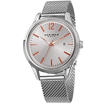 Akribos XXIV Men's Quartz Silver-Tone Case with Rose-Tone Accented Silver Sunray Dial on Silver-Tone Mesh Stainless Steel Bracelet Watch AK920SS