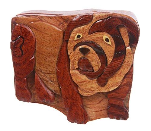 Handcrafted Wooden Bulldog Shape Secret Jewelry Puzzle Box ()