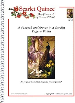 Large Size Symbols Scarlet Quince BID001lg A Peacock and Doves in a Garden by Eugene Bidau Counted Cross Stitch Chart