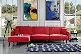 Mid Century Modern Style Linen Fabric Sleeper Futon Sofa, Living Room L Shape Sectional Couch with Reclining Backrest and Chaise Lounge (Red)