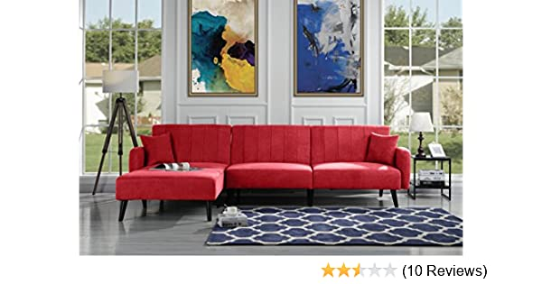 Futon Recliner Sleeper Sofa Bed, Convertible Red Futon Sofa Couch Sectional  with Reversible Chaise,(Sofa to Bed Feature) Left or Right Modern L-Shaped  ...