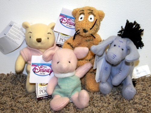 Retired Disney Classic Style Winnie the Pooh Set of 4 Plush Bean Bag Dolls Including Classic Piglet, Eeyore, Tigger and Pooh Mint with Tags ()