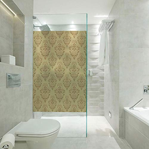 RWNFA Privacy Window Film Frosted Glass Film,Regular Damask Patterns Ornate Antique Lace Floral Patterns Oriental Style Design Art,Customizable Size,Suitable for Bathroom,Door,Glass etc,Beige