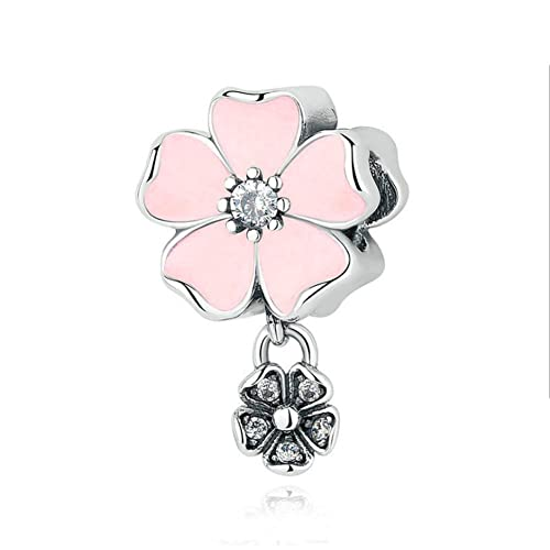 8f795690f Amazon.com: Romántico Amor Magnolia Bloom Pendant Charm Pink Enamel & CZ  Silver Flower Bead Fit Pandora Bracelet: Jewelry