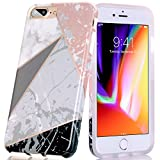 iPhone 8 Plus/7 Plus Case, BAISRKE Shiny Rose Gold Lines Clear Bumper TPU Soft Rubber Silicone Protective Phone Case for Apple iPhone 7 Plus/8 Plus/6 Plus/6S Plus [White Marble Geometric]