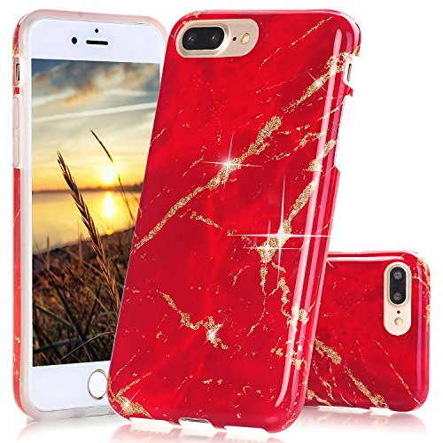 iPhone 7 Plus Case, iPhone 8 Plus Case, JAHOLAN Shiny Gold Red Marble Design Clear Bumper TPU Soft Rubber Silicone Cover Phone Case for Apple iPhone 7 Plus / iPhone 8 Plus (Red Marble)