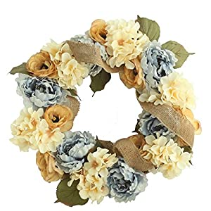 Christmas Home Ornaments Decoration Art Artificial Simulation Flowers Flora For Wedding Party And Thanksgiving Gift simulation Wreath Mural Wedding Door Decorated Craft Peony Wreath 83