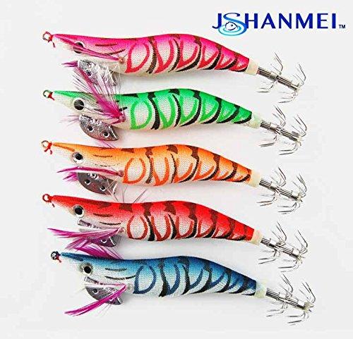 JSHANMEI 10pcs/set Bright Color Luminous Tail Glow in Dark Fishing Lures Squid Hooks Wrapped Wood Shrimp Prawn Cuttlefish Catfish Octopus Squid Jigs (10cm (Pack of 5))