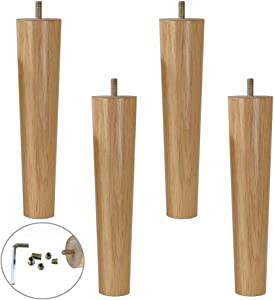 MWPO 4X Solid Wood Furniture Legs,Oak Table Legs,Cylindrical Sofa Legs - Bed Feet - Coffee Table Leg, M8 Screw Bar, for Kitchen Cabinet Sofa Bed Chair - Natural (9inch/23cm)