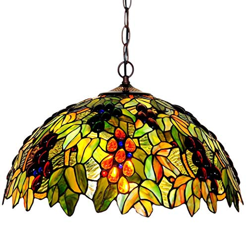 Tiffany Style Chandelier Lamp, Grape Pattern Stained Glass Lampshade Pendant Light, Ceiling Light Shades for Bedroom Living Room, 220V, E27 X 3
