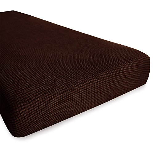 Hokway Sofa Cushion Slipcovers Stretch Spandex Cushion Protector Slipcovers (Chocolate, Loveseat Cushion)