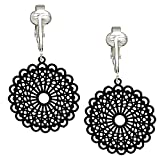 Darling Victorian Filigree Clip On Earrings for Women & Girls Clip-ons, Lacy Rounds, Flowers & Dragonfly (Black)