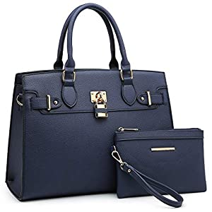 Dasein Women Handbags and Purses Ladies Shoulder Bag Top Handle Satchel Tote Work Bag with Matching Clutch