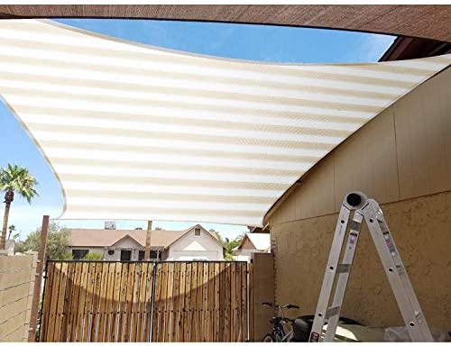 Patio Paradise 7' x 15' FT Beige White Stripe Sun Shade Sail Rectangle Canopy