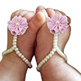 Towallmark 1Pair Baby Girls' Pearl Chiffon Barefoot Foot Flower Beach Sandals (Pink)