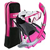 U.S. Divers Diva Women Snorkeling Set, Ladies Silicone Mask, Trek Travel Fins, Dry Top Snorkel + Gear Bag