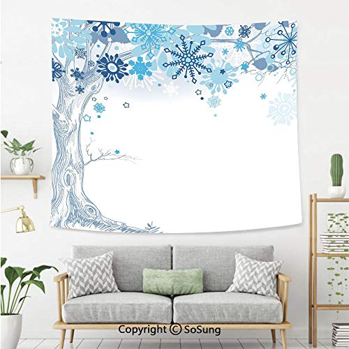 Winter Wall Tapestry,Hand Drawn Abstract Tree with Snowflakes for Leaves Soft Colored Image Seasonal Decorative,Bedroom Living Room Dorm Wall Hanging,60X50 Inches,