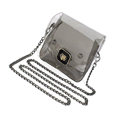 Bolsa de hombro de mujeres - SODIAL(R) Mini nueva bolsa transparente de hombro de mujeres de patron de cerdo bonito de color negro claro