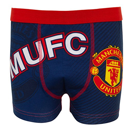 fan products of Manchester United FC Official Soccer Gift Mens Crest Boxer Shorts Navy Med.