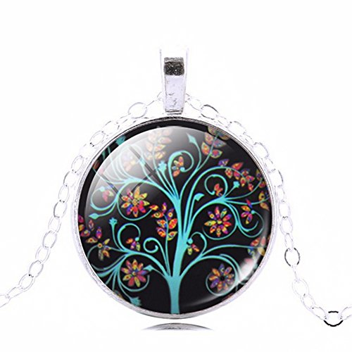 Beautiful Tree Art with Flower Glass Cabochon Abstract Picture Pendant Necklace, 20 - 22