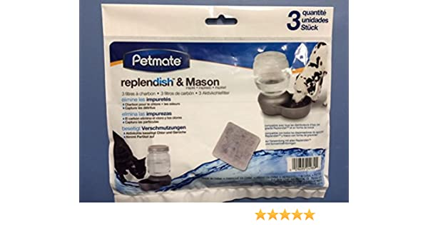 Amazon.com : 3 Pack Replendish & Mason Charcoal Replacement Filters Pet Dog Waterer : Pet Supplies