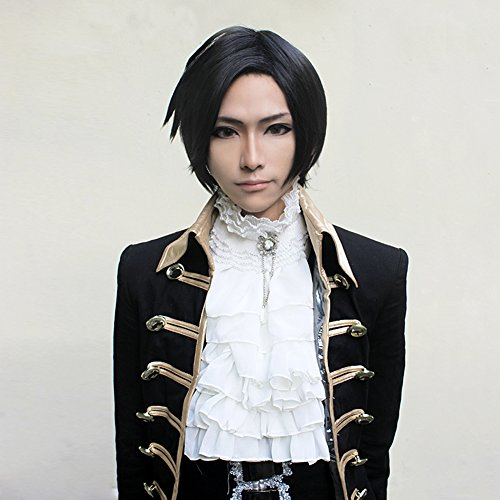 NEW Kuroshitsuji Faustus Claude Short Black Anime Cosplay Party Hair Full Wig