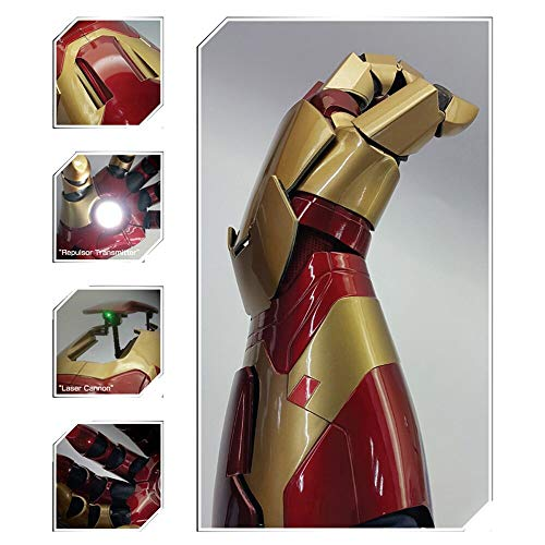 MK42 1/1 Wearable Armor Gauntlet with LED and Launch Sound, Electronic Arm Armor Cosplay Props Replica for Iron Man Fans Red