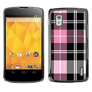 Cubierta de la caja de protección la piel dura para el LG GOOGLE NEXUS 4 / E960 - pink white black pattern fabric