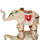Waltz&F Hand Painted Enameled Red love heart elephant Decorative Hinged Jewelry Animal Trinket Box Unique Gift For Home Decor