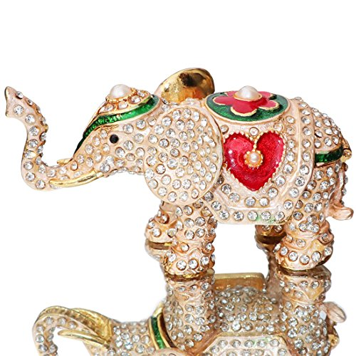 Crystal Elephant Trinket Box - Waltz&F Hand Painted Enameled Red love heart elephant Decorative Hinged Jewelry Animal Trinket Box Unique Gift For Home Decor