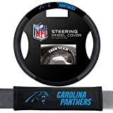 Fremont Die Carolina Panthers Nfl Steering Wheel Cover And Seatbelt Pad Auto Deluxe Kit