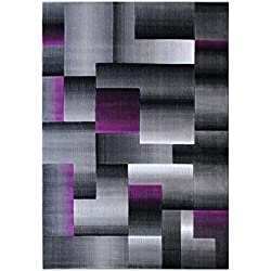 Masada Rugs, Modern Contemporary Area Rug, Purple Grey Black (5 Feet X 7 Feet)