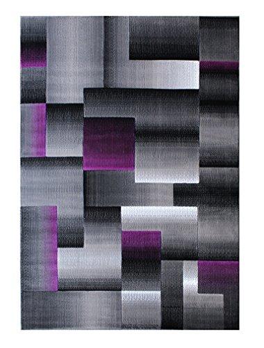Masada Rugs, Modern Contemporary Area Rug, Purple Grey Black (6 Feet X 9 - Area Rug Checker