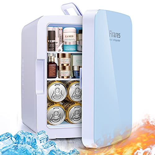 Firares Rapid Cooling 10 Liter/12 Can Mini Fridge for Bedroom, Protable Skincare Fridge for Makeup, Foods, Medications, Breast Milk, Mini Refrigerator for Office and Car Cooler and Warmer (Blue)