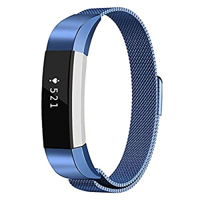 Fitbit Alta Bands, Akale Fitbit Alta HR Bands Milanese Stainless Steel Replacement Accessories Metal Small & Large Band for Fitbit Alta HR and Alta, Small Blue