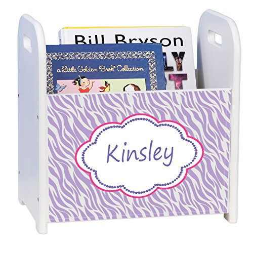 Personalized Lavender Zebra White Book Caddy and Rack by MyBambino
